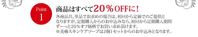 ポイント1 商品はすべて20%オフ